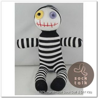 Handmade Black and White Striped Sock Monkey Clown Stuffed Animals Baby Toy