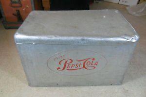 Vintage Aluminum Pepsi Cola Cooler Pepsi Chest 1950's Embossed Logo