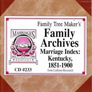 Family Tree Maker Archives Marriage Index Kentucky 1851 1900 PC CD Genealogy
