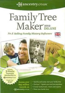 Family Tree Maker 2012 Deluxe Free 3 Month Ancestry Co UK Membership New
