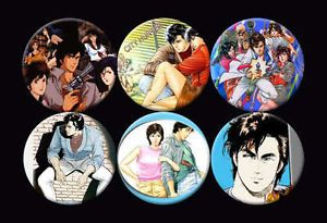 City Hunter Ryo Saeba Kaori Makimura Cartoon Anime Manga Buttons Pins Badges