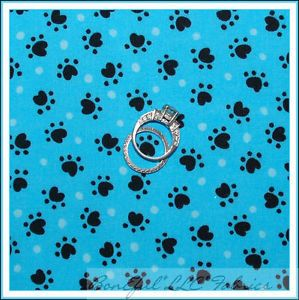 BonEful Fabric FQ Puppy Dog Play Paw Print Dot Black Aqua Baby Rescue Quilt RARE