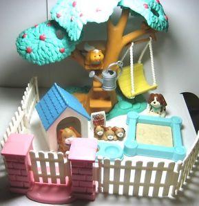 Fisher Price Loving Family Dollhouse Backyard Fun Treehouse Sandbox Fences Swing