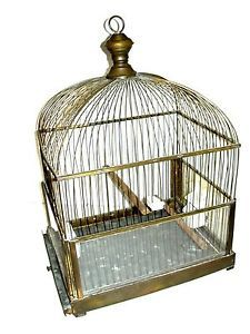 Antique Genykage England Brass Bird Cage with Porcelain Feeders