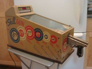 Vintage Toy Table Top Coin Op Arcade Game Skill Gun Shooting 1 Penny Arcade Game