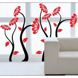 PVC Black Tree Red Flower Mural Art Decal Home Decor Wallpaper Wall Sticker Lots