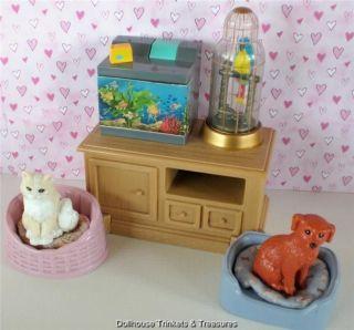 Fisher Price Loving Family Dollhouse Pet Center Set Dog Cat Bird Fish Dish