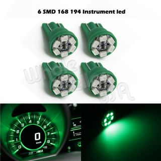 4X Bright Green T10 Wedge Gauge Cluster Instrumental Speedometer LED Light Bulb