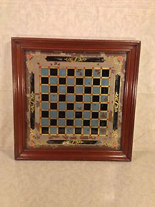 Antique Reverse Painted Glass Checker Chess Game Board American Folk Art