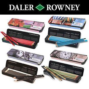 Daler Rowney Nostalgic Artists Pencil Tins Art Supplies Watercolour Pastel Sets