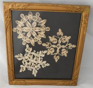 Vintage Paper Quilling Art Framed Picture 2D Winter Snowflakes Shadow Box