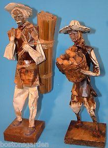Vintage Mexican Latin American Folk Art Paper Mache Man Dolls Village Workers