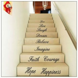 Stair Love Quotes Wall Paper Art Mural Wall Sticker Home Decal Decorations