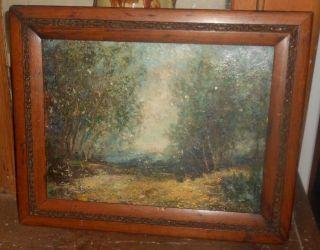 Antique Impasto Landscape Painting Oil on Board Wood Frame Art