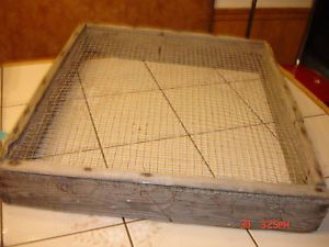 Antique Primitive Wood Metal Grain Wheat Sifter Farm Tool Wall Art