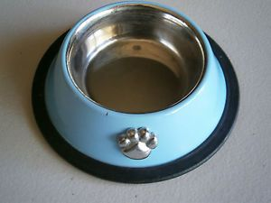 Small 7 oz Stainless Steel Food or Water Dish Bowl by Whisker City Blue w Paw