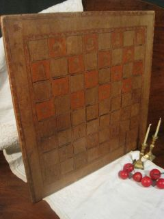 Antique 1800s American Folk Art 2 Sided Paint Decorated Carved Game Board AAFA