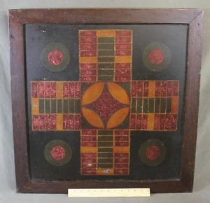"Antique Circa 1920s American Folk Art Painting ""Parcheesi Game Board"""
