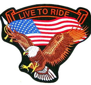 Live to Ride US Flag Brown Eagle Wings Freedom Embroidered Biker Patch 8""