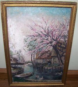 Antique Folk Art Oil Painting Man Fishing Apple Blossom Ducks Board Vintage