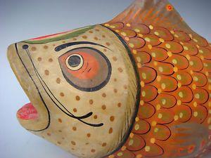 """Old Vintage Mexican Folk Art Papier Paper Mache Fish 14 1 2"""" Long Signed Sermel"""