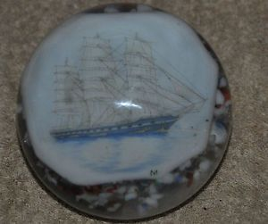 Extremely Nice Vintage Sailing SHIP Art Glass Paper Weight Signed M