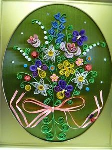 Vintage Paper Quilling Dimensional Art Framed Picture Flower Bouquet 8 1 2 x 11""