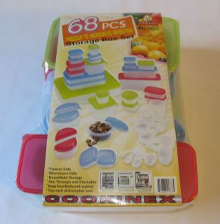 New 68 Pcs Reusable Plastic Food Storage Containers Lids Measuring Cups Variety
