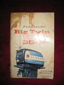 Original 1958 Evinrude Big Twin Electric 35 HP Outboard Engine Owners Manual