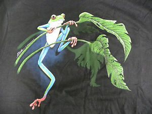 Red Eye Tree Frog T Shirt LG Lizard Gecko Dragon Reptile Amphibian Toad Eyed
