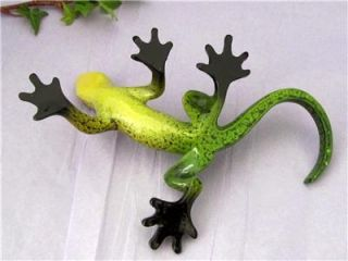 Lizard Gecko Green Yellow Black Colorful Hand Painted Resin Sculpture