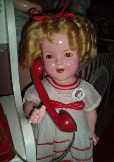 """Beautiful 1930's Large 22"""" Composition Shirley Temple Doll in Original St Outfit"""