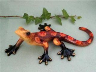 Lizard Gecko Brown Orange Multi Color Colorful Hand Painted Resin Sculpture