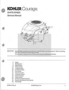 Genuine Kohler Small Engine Repair Manual Courage Models SV470 SV620 PN 2069001