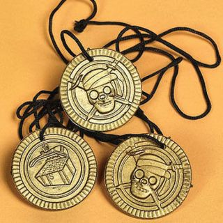12 Pirate Coin Necklaces Treasure Chest Party Favors Doubloon on