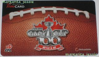 Tim Hortons Gift Card Hamilton Tiger Cats Coupe Grey Cup 100 No Value CFL 2012
