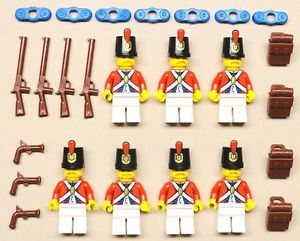 7 New Lego Pirate Minifigs Imperial Armada Soldiers Red w Epaulette Backpacks