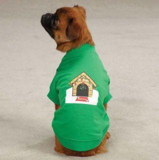 Dog Christmas Tee T Shirt Holiday Top Clothes Dog House Mistletoe Green Shirt