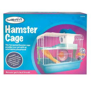 Hamster Cage 2 Levels Running Wheel Water Bottle House for Gerbils Mice Rats