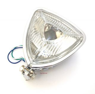 ☀ Rad Chopper Chrome Motorcycle Triangular Headlight • 66 84164 • Vintage Bike ☀