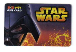 Star Wars Darth Vader K B KB Toys Gift Card