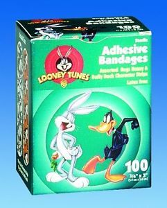 "Bugs Bunny Daffy Duck Adhesive Bandages Stat 3 4"" 100"