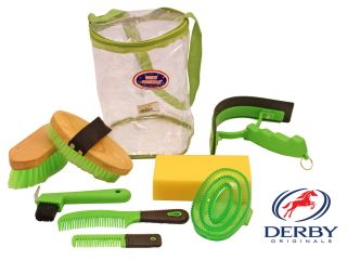 Derby Deluxe Best Seller Horse Stable Grooming Kit 9 Items Lime Green Super Sale