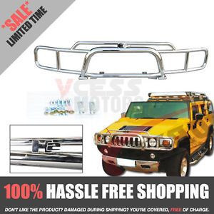03 08 09 Hummer H2 SUV Chrome Brush Grille Guard Grill w H2 Logo