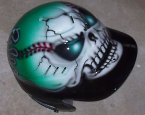 Airbrushed Flaming Skull Baseball Batting Helmet New