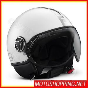 Casco Jet Momo Fighters Bianco Vintage Scooter Moto Custom Vespa Yamaha Honda