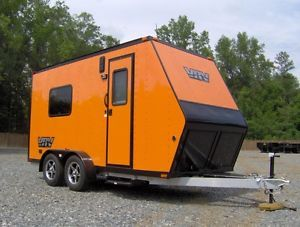 6x15 camper Enclosed Motorcycle Cargo Trailer Toy Hauler A C Work and Play VRV