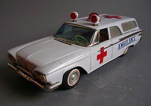 Ichiko Japan Plymouth Station Wagon Ambulance Car Vintage Battery Tin Toy 1960s