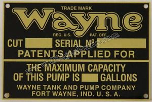 Wayne Visible Gas Pump ID Tag Fits Models 515 615 Part ID 114