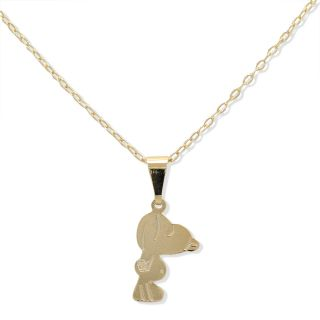 Gold Filled 18K Snoopy Dog Cartoon Pendant Vintage Necklace Charm Chain Kids